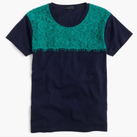 J. Crew Tops - J. Crew Navy Blue Green Lace T-Shirt